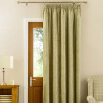 Green Chenille Thermal Pencil Pleat Door Curtain