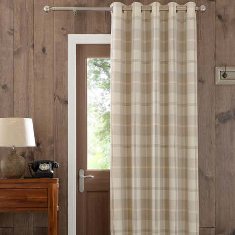 Natural Highland Check Lined Eyelet Door Curtain