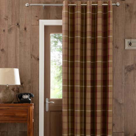 Highland Plum Check Lined Eyelet Door Curtain & Door Curtains | Thermal \u0026 Blackout Door Curtains | Dunelm Pezcame.Com