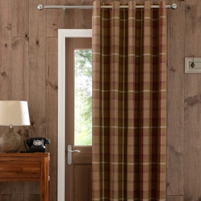 Highland Plum Check Lined Eyelet Door Curtain