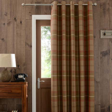 Highland Rust Check Lined Eyelet Door Curtain