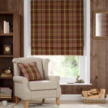 Plum Highland Check Blackout Roman Blind