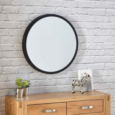 Elements Black Round Wall Mirror