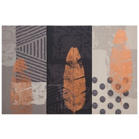 Leaf Printed Triptych Canvas