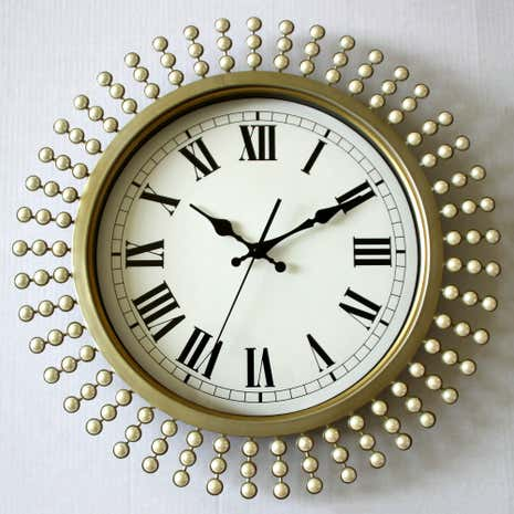 Cream Pearl Effect Wall Clock