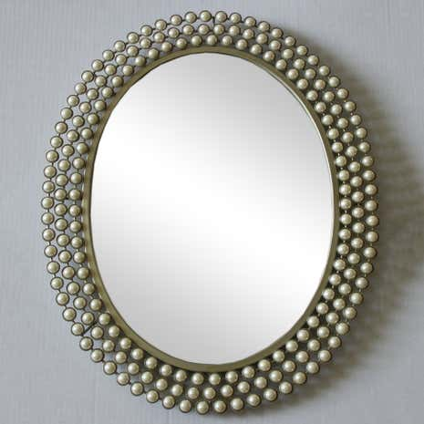 Cream Pearl Effect Wall Mirror