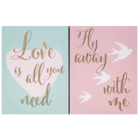 Set of 2 Pretty Pastels Canvases