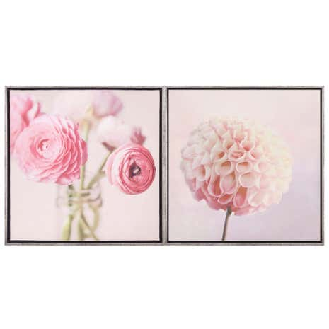 Set of 2 Pink Floral Boxed Canvases
