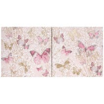 Set of 2 Pink Botanical Butterfly Canvases