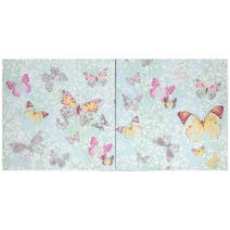 Set of 2 Duck Egg Botanical Butterfly Canvases