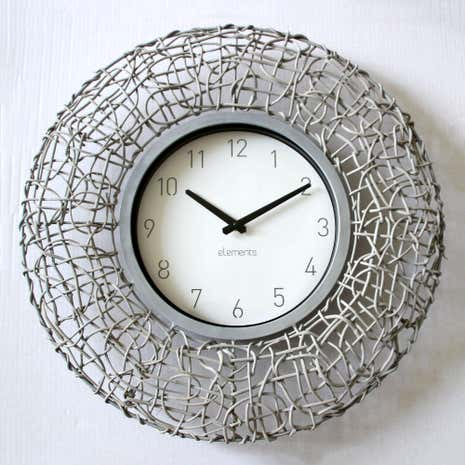 Grey Wicker Clock