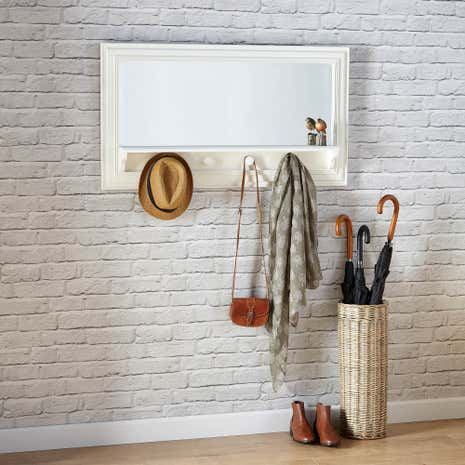 White Wooden Shelf Mirror