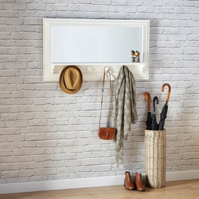 Cream Wooden Shelf Mirror