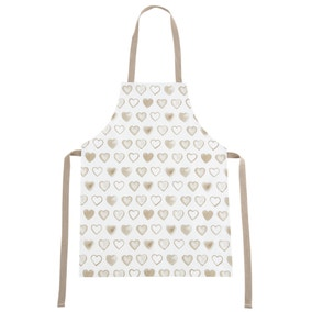 Country Taupe Heart PVC Apron
