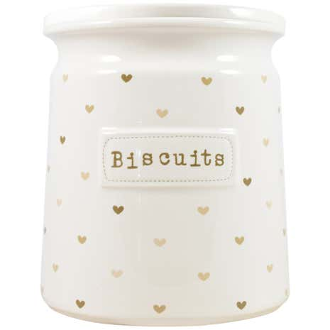 Taupe Sweethearts Biscuit Canister