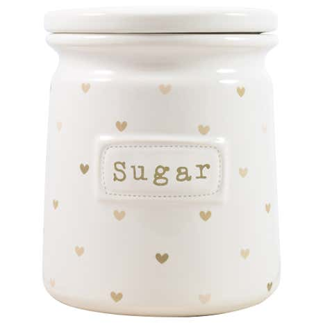 Taupe Sweethearts Sugar Canister