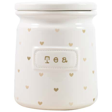Taupe Sweethearts Tea Canister
