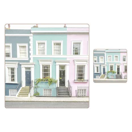 Set of 8 Pastel House Placemat & Coaster
