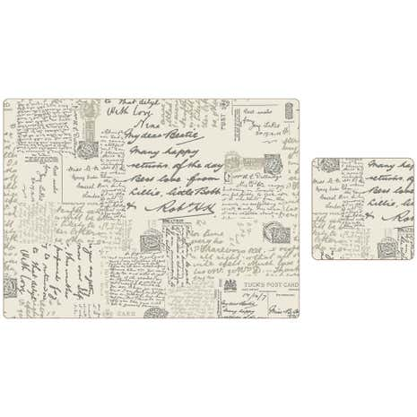 Script Placemat & Coaster Set of 8
