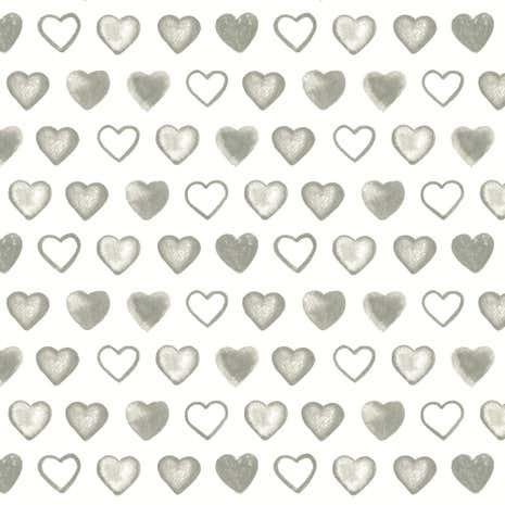 Country Charcoal Hearts Fabric