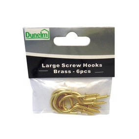 Large Brass Effect Screw Hooks
