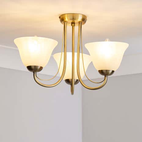 Alabaster 3 Arm Glass Light Fitting