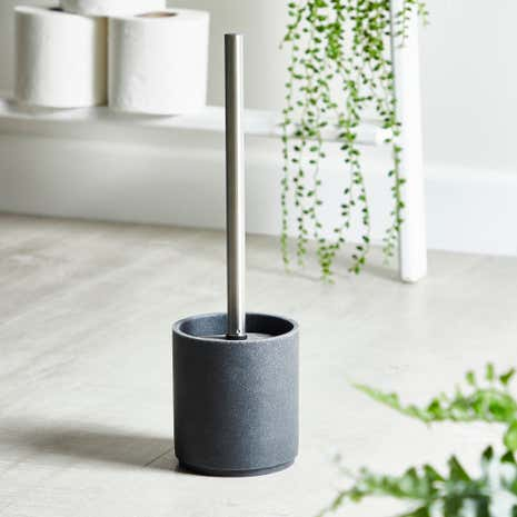 Grey Resin Toilet Brush Holder
