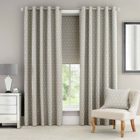 Astra Natural Lined Eyelet Curtains