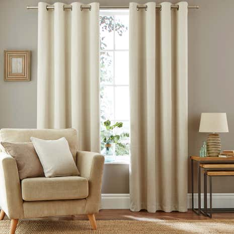 Cosmos Natural Blackout Eyelet Curtains