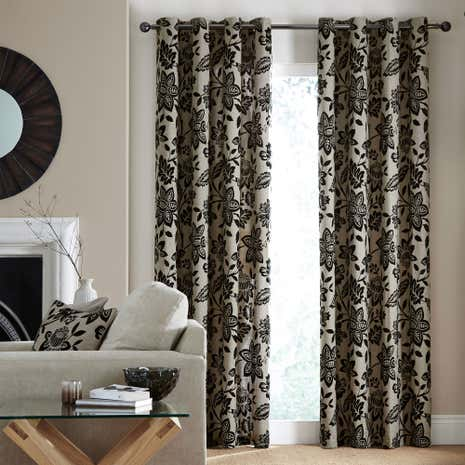 Fiji Black Lined Eyelet Curtains