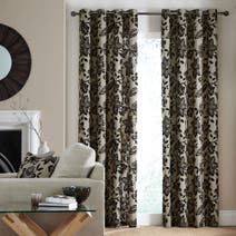 Black Fiji Lined Eyelet Curtains