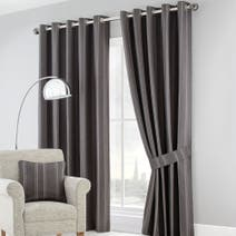Charcoal Harper Lined Eyelet Curtain