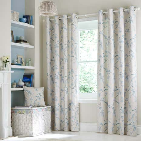 Laila Duck-Egg Lined Eyelet Curtains