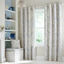 Duck Egg Laila Lined Eyelet Curtains