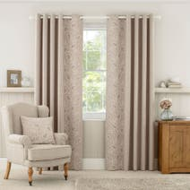 Natural Madeline Lined Eyelet Curtains