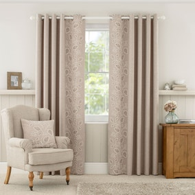 Madeline Natural Lined Eyelet Curtains