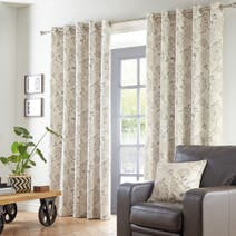 Natural Marrakesh Lined Eyelet Curtains
