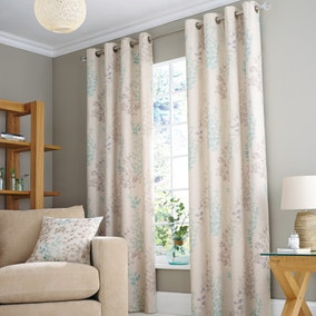 Nieve Duck-Egg Lined Eyelet Curtains