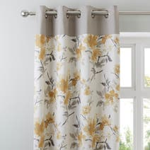 Pandora Ochre Lined Eyelet Curtains