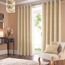 Persia Gold Lined Eyelet Curtains