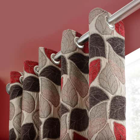 Sherwood Red Lined Eyelet Curtains