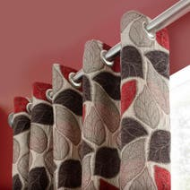 Red Sherwood Lined Eyelet Curtains