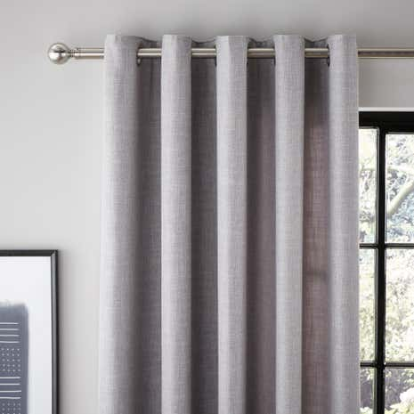 Vermont Grey Lined Eyelet Curtains
