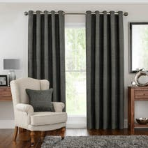 Hotel Charcoal Naples Lined Eyelet Curtains