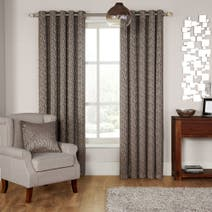 Hotel Rome Mocha Lined Eyelet Curtains