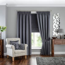 Hotel Grey Venice Pencil Pleat Blackout Curtains