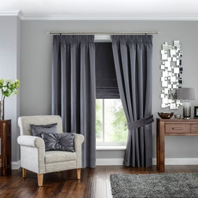 Hotel Venice Grey Pencil Pleat Blackout Curtains