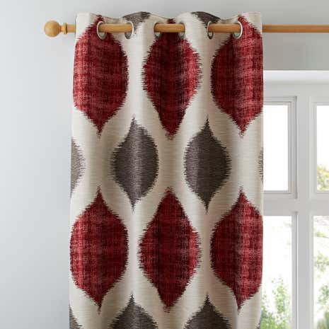 Great Morocco Red Lined Eyelet Curtains