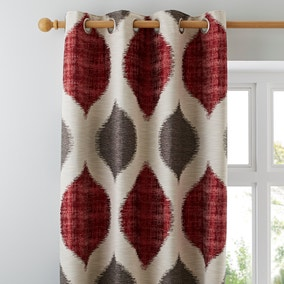Morocco Red Lined Eyelet Curtains