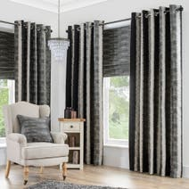 Black Onyx Lined Eyelet Curtains